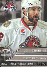 13/14 ROCKFORD ICEHOGS TEAM ISSUE #22 THEO PECKHAM *12095
