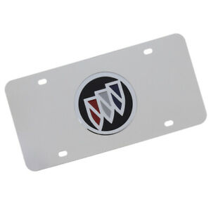 Buick Tri Color Logo License Plate (Chrome on Black)