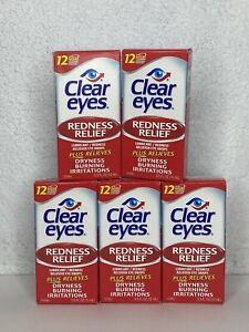 Lot of 5 Clear Eyes Redness Relief Eye Drops .5 fl oz (15 ml) Each Fast Shipping