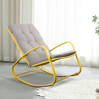 Rocking Chair Indoor Patio Padded Steel Rocker Seat Removable Cushion Yellow