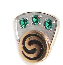 10k CTO tie tack w/ 3 green stones