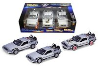 Back To The Future 1, 2, 3 Trilogy DeLorean Time Machine Set 1/24 by Welly