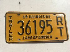 "1981 ILLINOIS RENTAL TRAILER LICENSE PLATE  "" 36195 RT "" IL FOR RENT TRL"