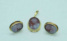 Exquisite Oval Cameo Pendant-Earrings Set - 14 Karat Yellow Gold