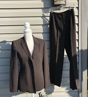 Ann Taylor women's 2 piece fully lined dark brown career pant suit size 2