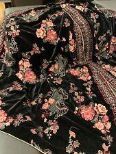Bareeze Style Wedding Bridal Winter Embroidered Velvet Shawl Scarf Black