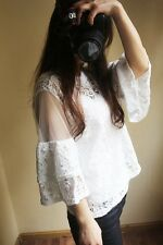 Brand New Japan Mori Style Lace Hollow Blouse Dress Top XS