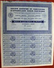 Electric Radio Equipment Manufacturing Comp. 1937. 100 Fr. French bond
