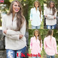 Womens Winter Long Sleeve Zip Neck Fleece Sweater Ladies Jumper Sweatshirt Coats