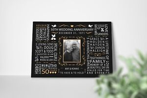 Personalised 50th Golden Wedding Anniversary Canvas Print Mum Dad Parents Gift