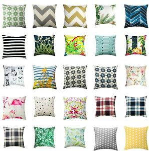 "100% Pure Cotton Cushion Covers or Filled Cushions 17""x17"""