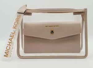 Michael Kors Transparent & Beige Faux Leather Cosmetic Case Pouch Wristlet BNWT