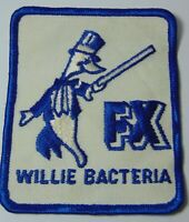 """3"""" Old Vintage 1970s WILLIE BACTERIA FX UNIFORM JACKET GRAPHIC ADVERTISING PATCH"""