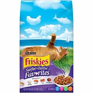 Purina Friskies Surfin & Turfin Favorites Adult Dry Cat Food 3.15 Pound (3-Bags)