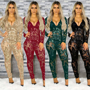 Women Ladies Sequins Sexy Long Sleeve Mesh Perspective Bodycon Jumpsuit Clubwear