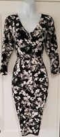 Womens Phase Eight Black White Floral Stretch V Neck Evening Wiggle Dress 10.