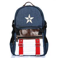 Marvel LOGO Blue Captain America Backpack Computer Bag Travel Rucksack Schoolbag