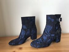 $950 Laurence Decade blue plaid embroidered buckle ankle boots shoes sz 37/6.5B