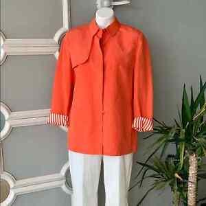 Carlisle Women's Long Linen Silk Blazer Size 12 Orange Striped Lining Brand New