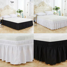 Three Sides Bed Skirt Twin Queen Solid Sleeveless Elastic Breathable Ruffles AU