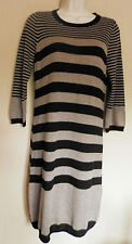 NOA NOA (XS / UK8 / EU36) BROWN/BLACK STRIPE JUMPER DRESS WITH WOOL/CASHMERE