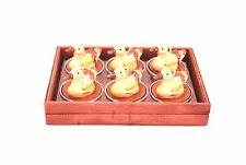 6 Stück Enten Kerzen in Holzbox, Durchmesser 4cm, Tischdeko, Teelichter