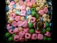 Wooden beads 100s of various sizes and colors great with alphabet beads  wb010