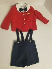 Good Lad Boy 3T Train Engine Car Red Vest Navy Corduroy Pant Plaid Shirt Set NEW