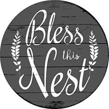 "Bless this Nest 12"" Round Metal Sign Novelty Retro Home Wall Decor"