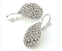 Rhinestone Teardrop Silver Plated Drop Dangle Earrings Fashion Jewelry 1 Pair