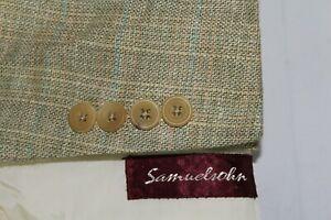 SAMUELSOHN 44L Silk & Linen Multicolored Plaid Sport Coat Blazer