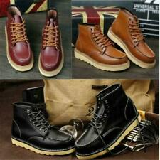 Mens High Top Wedge Sole Soft Toe Lace-up Work Military Ankle Boots Shoes