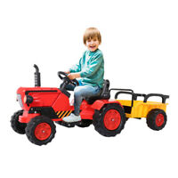 Ride on Tractor w/Detachable Trailer, Kids Truck Car Toy 12V Battery-Powered US