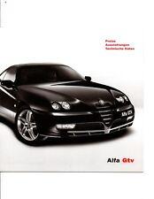 Alfa Romeo GTV 916 3.2 V6 2.0 12 Page German Brochure  2003 Preise Daten