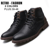 Retro Men's Leather Martin Boots Lace Up&Zipper Military Army Biker Ankle Shoes