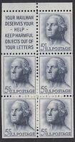 UNITED STATES BKT PANE:1962 5c  slogan 1 SCOTT #1213 a  never-hinged mint