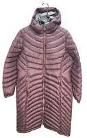 Women's LL Bean Ultralight 850 Hooded Down Coat Jacket Puffer XL Plum Long
