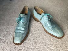 Mauri men Genuine Alligator Ostrich Blue shoes  Size 10.5