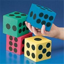 4 JUMBO FOAM DOT DICE Die Numbers Math Cubes Count Games Party Night Gift