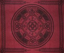 """Celtic Circle Tapestry Cotton Bedspread 104"""" x 88"""" Full Burgundy"""