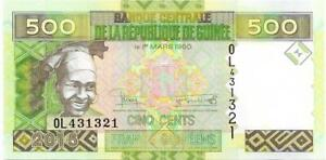 GUINEA 500 Francs 🌎💴 P- 47 from 2015 💴🌎 Mining ⛏⚒ and Woman 👩