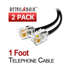 ( 2 Pack ) 12 Inch Short Telephone Cable RJ11 Male To Male 1ft., Phone Line Cord
