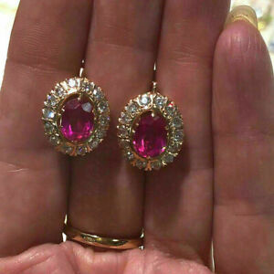 4Ct Oval Cut Pink Ruby Diamond Halo Drop&Dangle Earrings 14K Yellow Gold Finish