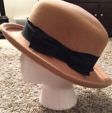 Vintage Women's Arlin Tan 100% Wool Hat, Made In USA