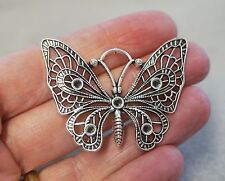 2 Large Butterfly Charms /Pendants - 48mm - Tibetan Antique Silver