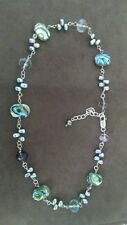 Abalone shell with pearls silver necklace