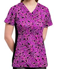 NWT White Cross Women's Orchid Paisley Purple Black Scrub Top Size M **