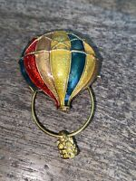 Vintage Gold Tone Colorful Enamel Hot Air Balloon Pin Brooch, Red, Green, Yellow