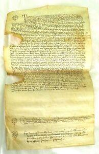 MANOSCRITTO ANTICO pergamena MEDIOEVALE MEDIOEVO 1407 NOTAIO CREMONA PALEOGRAFIA
