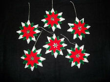 """New Listing6 Poinsettia Christmas Ornaments orToppers Plastic Canvas Handmade 4 1/4"""""""
